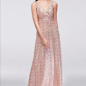 Sequin tank bridesmaid dress with satin piping